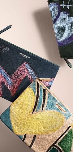 Artistic floral prints on leather - runway-inspired accessories from Burberry for women