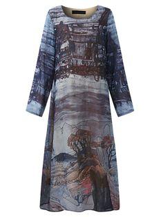 4307f016d3 Hot saleElegant Print Long Sleeve O-neck Loose Women Dresses Cheap - NewChic