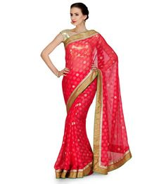 Red Bhagalpuri Golden Polka Dot Saree | Fabroop