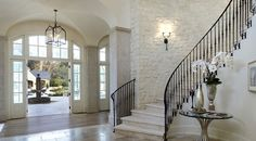 Decor inspiration: Kim Kardashian and Kanye West's Villa Casa Kardashian, Grand Entryway, Entry Foyer, Open Entryway, Entry Stairs, West Home, Villa, Foyers, Staircase Design