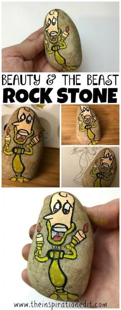 Lumiere Rock Painting From Beauty And The Beast Recently I thought I would have a try at painting Lumiere from Beauty And The Beast on a rock stone. #Rockpainting #rockstone #rockstones #Lumiere #craft #craftwithkids #poscapens #rockstones #rockstonepaint Craft Projects For Kids, Crafts For Kids To Make, Art For Kids, Kids Crafts, Craft Ideas, Beauty And The Beast Crafts, Disney Beauty And The Beast, Pebble Painting, Rock Painting