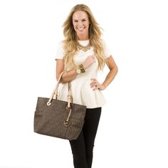 Michael Michael Kors East-West Signature Tote - Brown