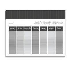 Charcoal Harringbone Weekly Schedule Pad