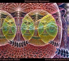 Visionary art by Adam Scott Miller, this one show the infinite perspective of this network of luminous fibers of awareness, from intimate to distant. More on - http://fractalenlightenment.com/13862/artwork/the-visionary-art-of-adam-scott-miller