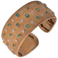 Buccellati Diamond and Emerald Cuff Bracelet | From a unique collection of vintage cuff bracelets at https://www.1stdibs.com/jewelry/bracelets/cuff-bracelets/