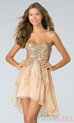 Short Strapless Sequin Dress by Sherri Hill 8443 at PromGirl.com