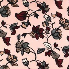 Kraftig crepe georgette rosa m blomster