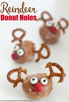 Easy Reindeer donut holes- the kids could make these for Christmas!