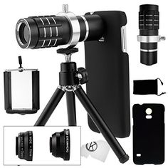 Samsung Galaxy S5 Camera Lens Kit including a 12x Telephoto Lens / Fisheye Lens / 2 in 1 Macro Lens and Wide Angle Lens / Mini Tripod / Universal Phone Holder / Telephoto Lens Holder Ring / Hard Case for S5 / Velvet Phone Bag / CamKix® Microfiber Cleaning Cloth - Awesome Accessories and Attachments for Your Galaxy S5 Camera (Black), http://www.amazon.com/dp/B00M7SEUHC/ref=cm_sw_r_pi_awdm_qnQovb0WNFB25