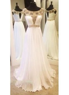 USD$209.00+-+2016+Gold+Crystals+Beading+Chiffon+Prom+Dresses+White+Capped+Sleeves+Luxury+A-line+Evening+Gowns+-+www.babyonlinedress.com
