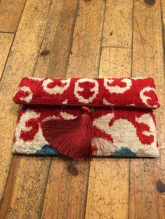 Uzbek Silk Ikat, Silk Ikat Bag,  Handcrafted Fabric,  luxury Ipad Bag,  (7.87''X11.81'') by LoomArtLife on Etsy
