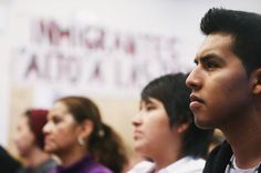 Oscar Rodriguez, an undocumented immigrant, at a viewing party for a speech by President Obama last year. John Cassidy explains why, on immigration, Obama so radical: http://nyr.kr/14O7rkx (Photograph by Mario Tama/Getty)