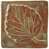 "Aspen Leaf 4""x4"" Handmade Ceramic Art Tile Autumn Glaze"
