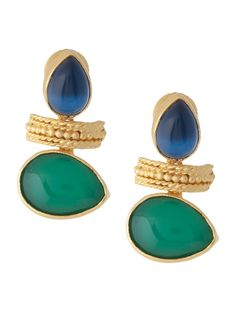 DesertRose,;,Buy Blue-Green Onyx Classic Earrings by Eesha Zaveri Online at Jaypore.com,;(
