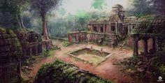 Temple by Felicien Nourry on ArtStation. Fantasy Art Landscapes, Fantasy Landscape, Assassins Creed Art, Indian Village, Dnd Art, Fantasy City, Fantasy Setting, Art Station, Matte Painting