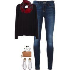 Black long sleeve tee, plaid scarf & chucks