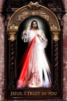 """Jesus Christ The Divine Mercy. The image is a depiction of Jesus based on the vision of Saint Faustina Kowalska in 1931. The image contains the phrase""""Jesus, I trust in You"""". The red ray streaming out of his heart symbolizes the blood of Jesus, (which is the Life of Souls), and pale ray for the water (which justify souls) (from Diary - 299). Various artistic renditions of the image have appeared since Sr. Faustina directed the painting of the first image in Poland."""