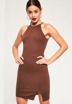 Missguided - Brown 90s Neck Side Split Bodycon Dress