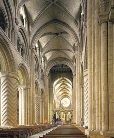 NORMAN architecture - Nave vaults, Durham Cathedral, England (begun 1093 and largely completed within 40 years) #architecture #cathedral (NB: at the end is the Quire - Original east end was replaced by this Gothic choir, 1242-c. 1280. Vault height about 73'.)