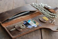 Leather Biker Wallet Leather iPhone 5 Wallet Case by JooJoobs