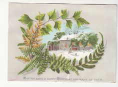 May You Have A Happy Birthday Ferns House in Snow Victorian Card C 1880s | eBay