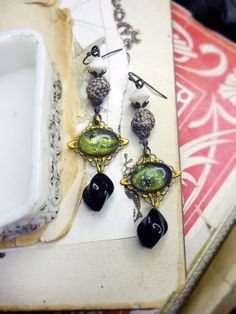 Rustic Bead & Cabochon Earrings Black and White by shipwreckdandy