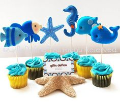 SET of 4 Under the Sea Friends Party Toppers   by GiftsDefine, $65.00