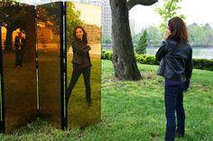 Mirror sculpture at Frieze Art Fair, New York, 2013.