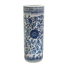"Oriental Furniture Oriental Furniture BW-UMBR-BWFL Chinese Porcelain 24"" Floral Blue & White Porcelain Umbrella Stand Umbrella Holders"