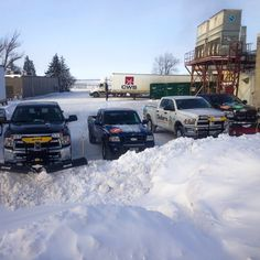 Lined up to shovel it up! Call Geller's for any home or commercial snow removal services. 204.795.9490.  #Winnipeg #SnowRemoval #Winter