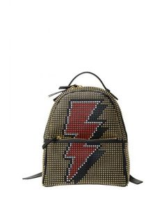 LES PETITS JOUEURS Les Petits Joueurs Leather Backpack With Studs. #lespetitsjoueurs #bags #leather #lining #backpacks #