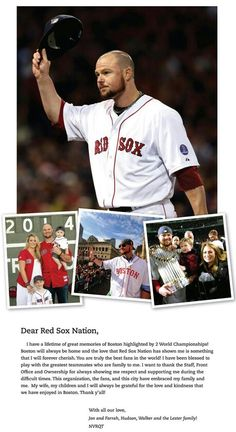 "Jon Lester takes out full page ad at The Boston Globe Thanking Red Sox Nation Fans & saying, ""Boston Will Always Be Home."