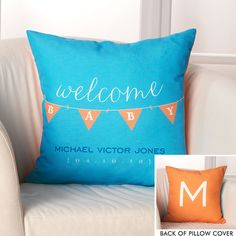 Personalized Baby Banner Throw Pillow Cover #The Stationery Studio Big Plans Contest