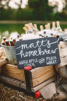 Homebrew - Wedding in The Peach Orchard   Photography : marymargaretsmith.com   http://www.fabmood.com/a-cozy-fall-wedding-in-the-peach-orchard #peach #fallwedding