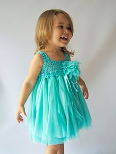 Teal Baby Tulle Dress with Empire Waist and Stretch por AylinkaShop