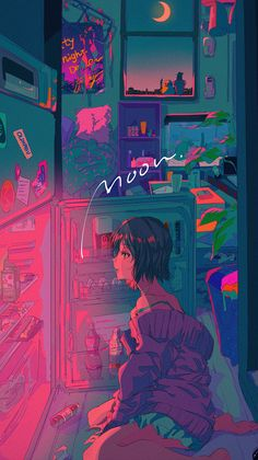 Mood under the Moon Wallpaper Art Anime, Anime Art Girl, Animes Wallpapers, Cute Wallpapers, Pretty Art, Cute Art, Aesthetic Art, Aesthetic Anime, Evelynn League Of Legends