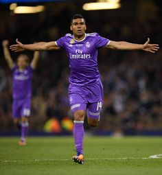 Casemiro of Real Madrid celebrates scoring his sides second goal during the UEFA Champions League Final between Juventus and Real Madrid at National Stadium of Wales on June 3, 2017 in Cardiff, Wales.