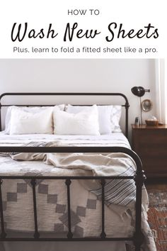 how to wash new sheets like a pro Silk Sheets, Cotton Sheets, Bed Sheets, Folding Fitted Sheets, Types Of Beds, New Beds, Slow Living, Little People, Sheet Sets