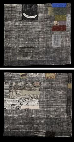 "Dorothy Caldwell, Canadian textile artist. Upper entitled ""Artifact."" Lower: ""Quiet Place: Willow and Arctic Moss."""