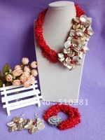 Free ship!!! fashion Luxury Branch Strand with Flower coral bridesmaid bridal jewelry set necklace bracelet earring set