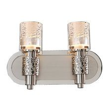 Ashington from Kalco Lighting features a textural spin on Art Deco. Two tone Satin Nickel with Polished Nickel accents and Clear glass shades with Silver Leaf infusion.
