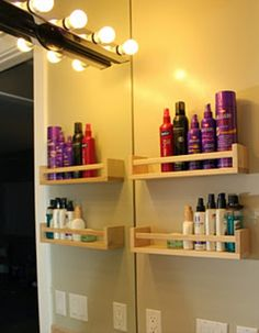 Use spice racks to hold different hair products! Save space.