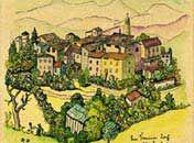 Ein Tessiner Dorf  Tuschfeder und Aquarell 1930    Sammlung der Sparkasse Pforzheim Calw  © Silver Hesse