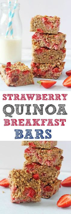 A delicious and filling breakfast bar recipe, packed full of healthy ingredients such as quinoa, oats, bananas and strawberries. These bars make the perfect nutritious start to the day for the whole f (Healthy Recipes For Family) Quinoa Breakfast Bars, Breakfast And Brunch, Breakfast Recipes, Breakfast Ideas, Strawberry Breakfast, Healthy To Go Breakfast, Quinoa Bars, Protein Breakfast, Breakfast Cookies