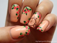 Bicycle & roses nail art by Pauline - Nailpolis: Museum of Nail Art Cherry Nails, Peach Nails, Rose Nails, My Nails, Cherry Blossom Nails, Gelish Nails, Nail Designs Spring, Simple Nail Designs, Nail Art Designs