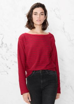 & Other Stories image 2 of Striped Jersey T-Shirt in True Red