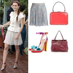 On Blair: Alice + Olivia Pleated Floral Skirt, Valentino Rockstud Top Handle Bag, Christian Louboutin Echasse Pumps