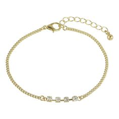 Simple Model Rhinestone Gold Color Chain Bracelets ($3.99) ❤ liked on Polyvore featuring jewelry, bracelets, goldtone jewelry, gold colored jewelry, chains jewelry, rhinestone jewelry and gold tone jewelry