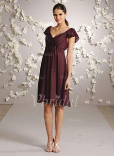 88965f2749 Product Description a-line v-neck natural knee-length zipper fuchsia  chiffon bridesmaid dress,ruffles Additional Information