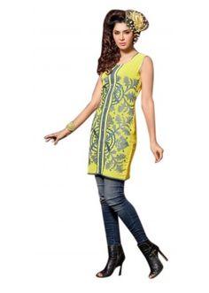 Party Wear Readymade Yellow Georgette Kurti - 60003